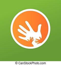 madre, bambini, insieme, mani