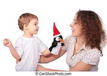 madre, bambino, e, giocattolo