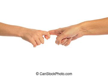 madre bambino, toccante, vicino, dita