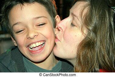 madre, besar, ella, hijo