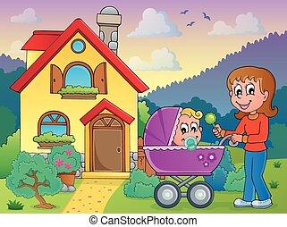 madre, con, bambino, appresso, casa