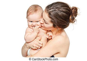 madre, con, bambino