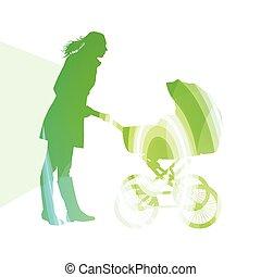 madre, con, bebé, cochecitos, carruaje, ambulante, mujer,...