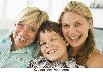 madre, con, cultivar arriba, hija hijo