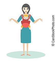 madre, con el niño, nacido, bebé, en, un, portador del bebé, sling.