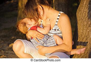 madre, con, ella, hijo