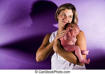 madre, con, neonato