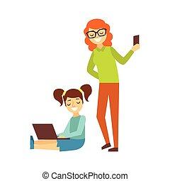 madre, con, smartphone, y, niña, con, ponytails, y, cima...
