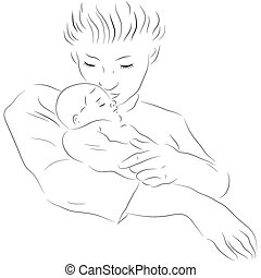 madre, con, un, sueño, bebé