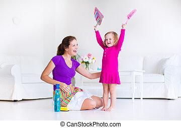 madre e hija, dramático, el, piso