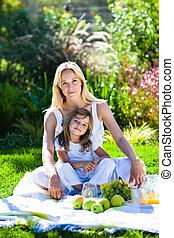 madre e hija, el gozar, un, picnic