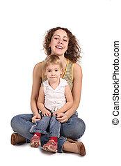 madre e hija, sentarse, aislado, blanco