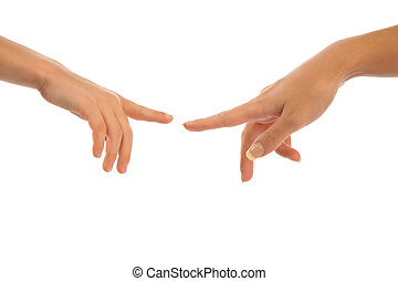 madre e hijo, conmovedor, por, dedos