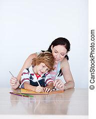 madre e hijo, hacer, deberes, con, copy-space