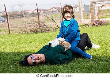 madre e hijo, tener diversión, juntos
