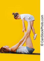 madre, encima, formas, plano de fondo, hija, gimnastic, ...
