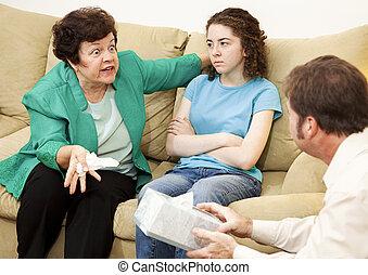 madre, enojado, hija, terapia