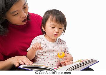 madre, enseñanza, ella, niño
