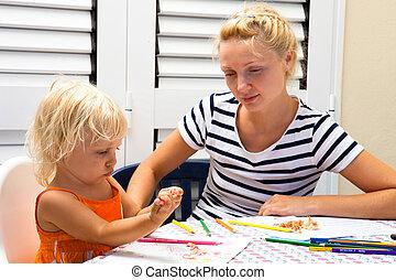 madre, enseñanza, para dibujar, hwr, hija