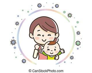 madre, essi stessi, illustrazione, protezione, virus, bambino