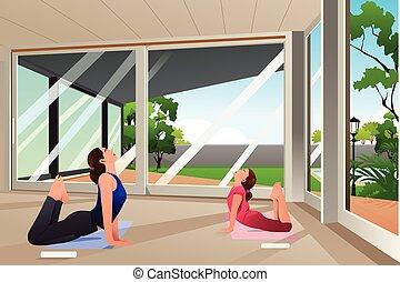 madre, figlia, fare, yoga, a casa