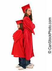madre, figlia, graduazione, ritratto