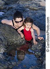 madre figlia, viaggiare, in, il, natura