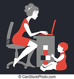 madre, –, freelancer, quaderno, silhouette, bello