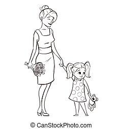 madre, illustrazione, mano, vettore, monocromatico, disegnato, felice