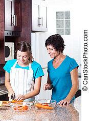madre, insegnamento, figlia, adolescente, cottura