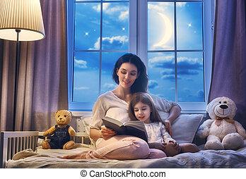 madre, leer un libro