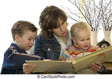 madre, libro, lettura, son's, due