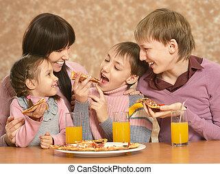 madre, mangiare, bambini, pizza
