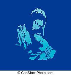 madre, maría, con, jesucristo