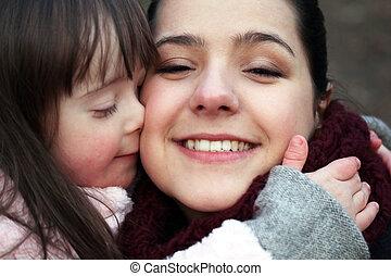 madre, momentos, -, niño, familia
