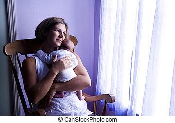 madre, oscillante, neonato