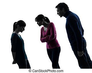 madre, padre, disputa, figlia, famiglia, silhouette, rimprovero