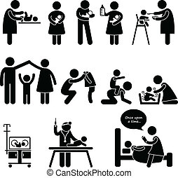madre, padre, niñera, niño, bebé, cuidado