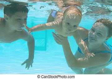 madre, pool., enseñanza, natación submarina, familia , ella...