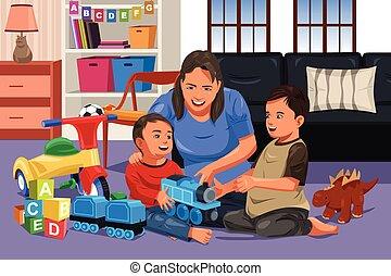 madre que juega, con, ella, niños