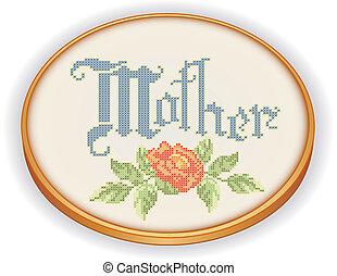 madre, retro, ricamo, cerchio, rosa