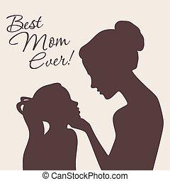 madre, silhouette, figlia