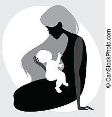 madre, silueta, niño