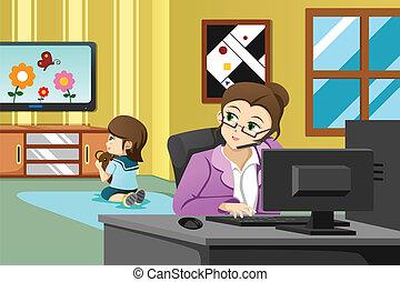 madre, trabajando, en, la oficina
