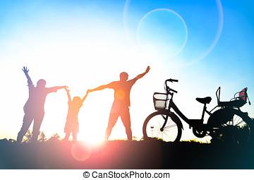 madre, tramonto, felice, sole, padre, figlia, famiglia, parco, bagliore, silhouette