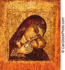 madre, vecchio, icona, dio