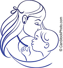 madre, y, baby., lineal, silueta, de, madre, y, ella, niño