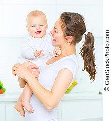 madre y bebé, juntos., haciendo dieta, concept., el comer sano