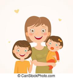madre, y, hijas