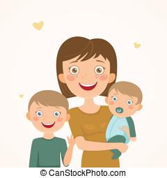 madre, y, hijos